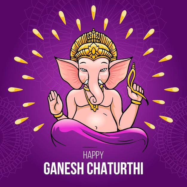 Ganesh Chaturthi Dessiné à La Main Vecteur gratuit