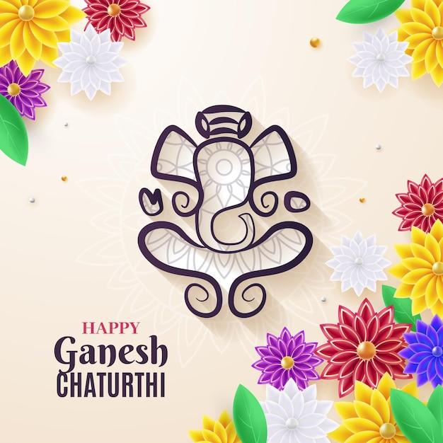Ganesh Chaturthi Réaliste Vecteur gratuit