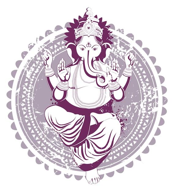 Ganesh Dessiné à La Main Dans Le Style Vintage Vecteur gratuit