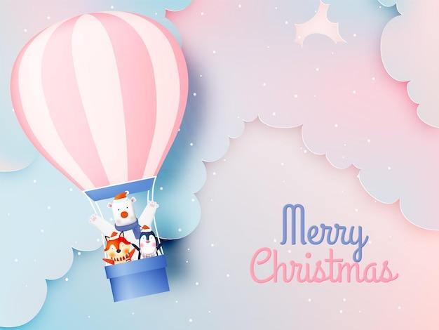 Gang Of Animal Party Avec Un Design De Personnage Très Mignon En Pastel Schenme Pour Célébrer Et Joyeux Noël Vecteur Premium
