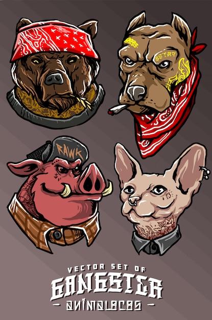 Gangster animal Vecteur Premium