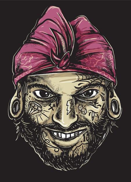 Gangster balinais tatoué Vecteur Premium