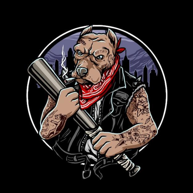 Gangster chien doberman Vecteur Premium