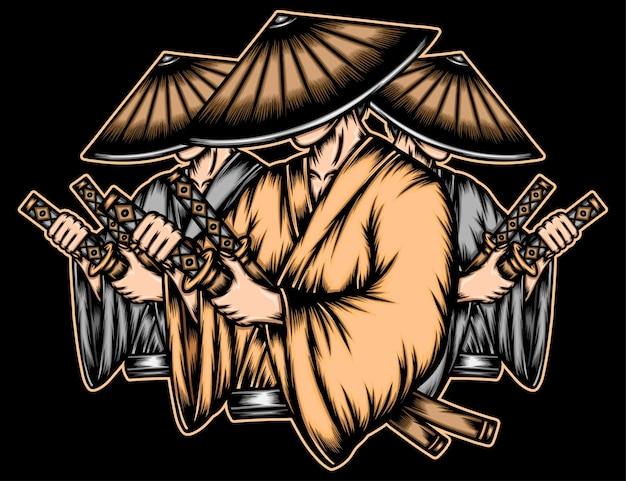 Gangster Japonais Ronin. Vecteur Premium
