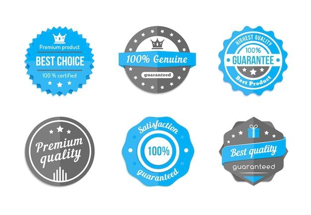 Garantie, Qualité Et Meilleur Choix De Badges Bleus Vintage Vector Vecteur gratuit