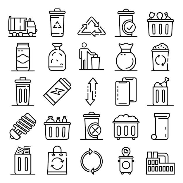 Garbage Icons Set, Style De Contour Vecteur Premium