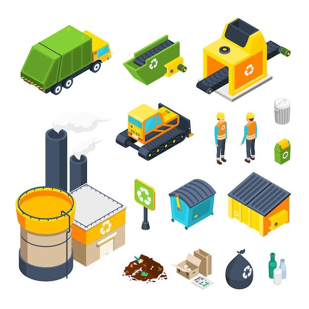 Garbage isometric icon set Vecteur gratuit