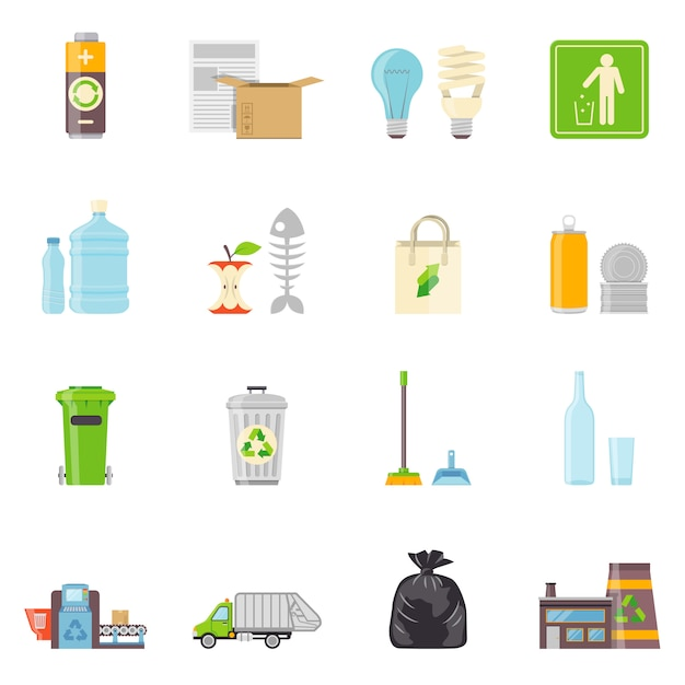 Garbage recycling icons set Vecteur gratuit