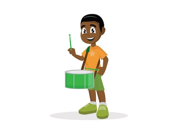 Garçon africain jouant du tambour. Vecteur Premium