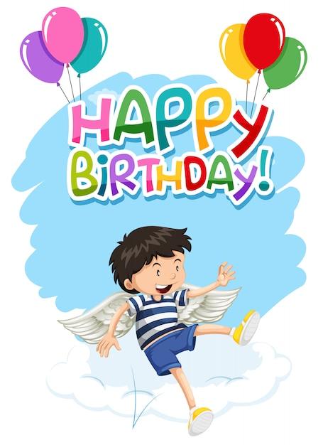 Garçon avec ailes joyeux anniversaire carte Vecteur gratuit