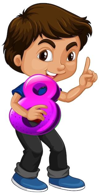 Garçon Asiatique, Tenue, Math, Numéro Huit Vecteur Premium