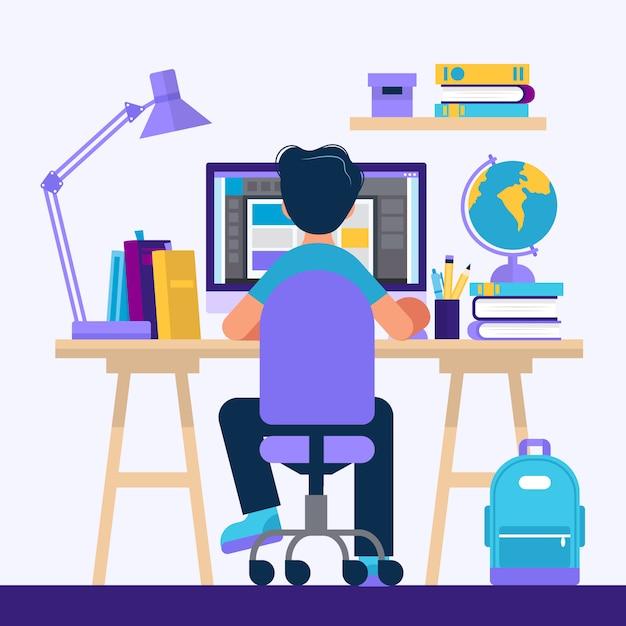 Garçon assis au bureau, apprenant avec l'ordinateur. Vecteur Premium