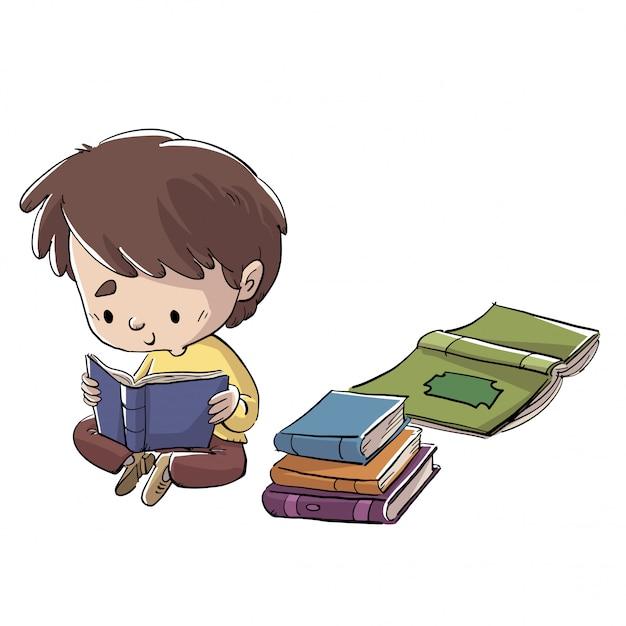 Garçon assis sur le sol en lisant un livre Vecteur Premium