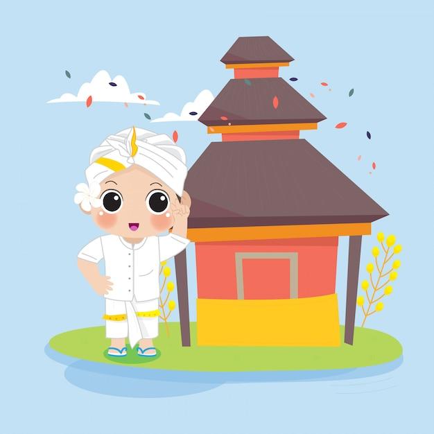Garçon Balinais Devant Le Temple Vecteur Premium