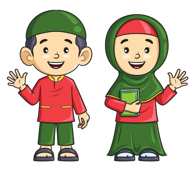 Garçon de bande dessinée et fille musulmane Vecteur Premium