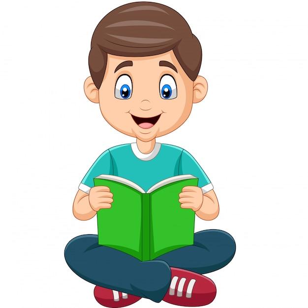 Garçon de bande dessinée en lisant un livre Vecteur Premium