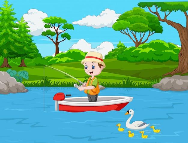 Garçon de bande dessinée de pêche sur un bateau Vecteur Premium