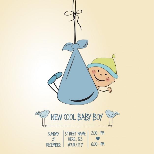 Garçon bébé carte de douche Vecteur gratuit