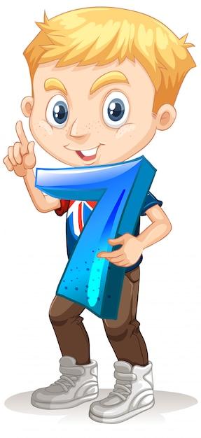 Garçon Blond Tenant Le Nombre De Maths Sept Vecteur gratuit