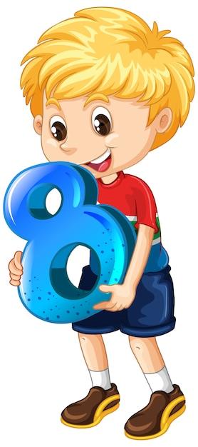 Garçon Blond Tenant Le Numéro Huit Maths Vecteur gratuit