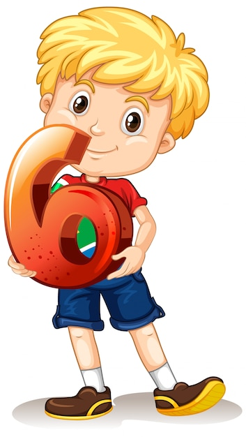 Garçon Blond Tenant Le Numéro Six Maths Vecteur gratuit