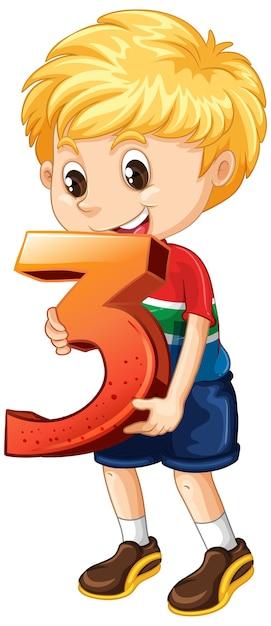 Garçon Blond Tenant Le Numéro Trois Maths Vecteur gratuit