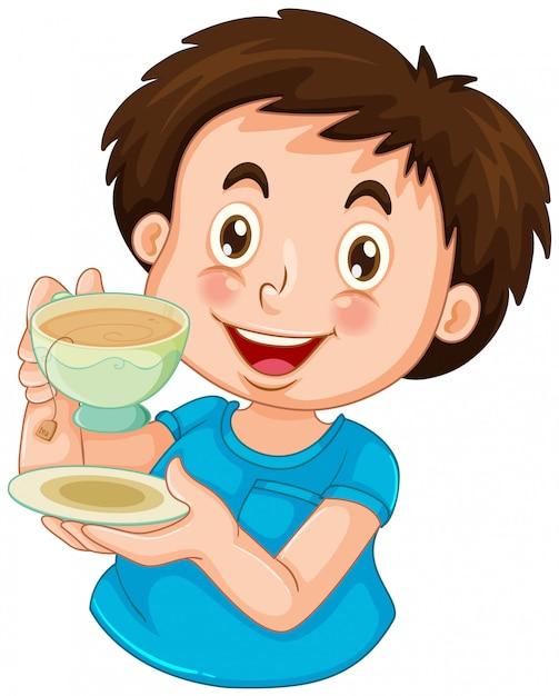 Un garçon boire du thé Vecteur gratuit