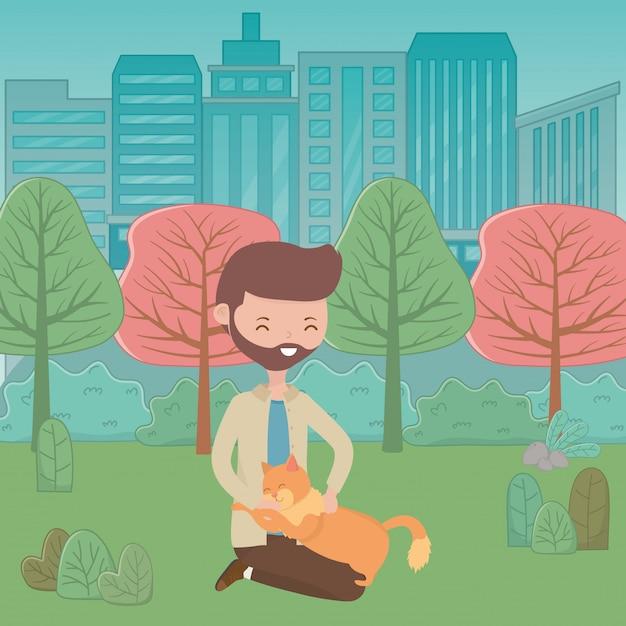 Garçon avec chat de dessin animé Vecteur gratuit
