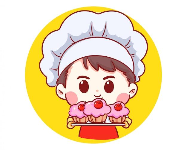 Garçon De Chef Boulangerie Mignon Tenant Le Gâteau Souriant Logo Illustration De Bande Dessinée Art. Vecteur Premium