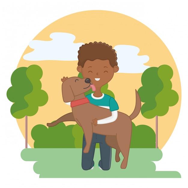 Garçon avec chien de dessin animé Vecteur gratuit