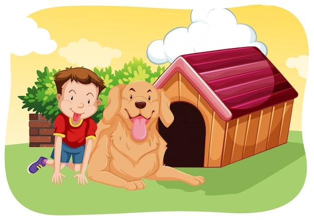 Garçon et chien sur l'herbe Vecteur gratuit