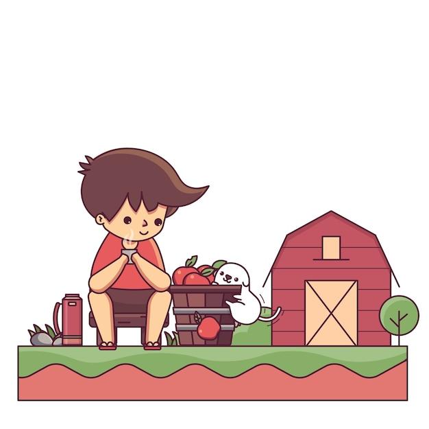 Garçon et le chien en illustration vectorielle de farm house caractère Vecteur Premium