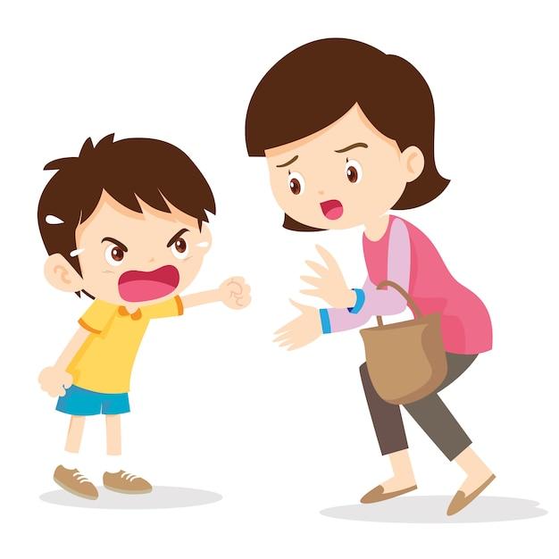 Garçon en colère criant avec sa mère Vecteur Premium