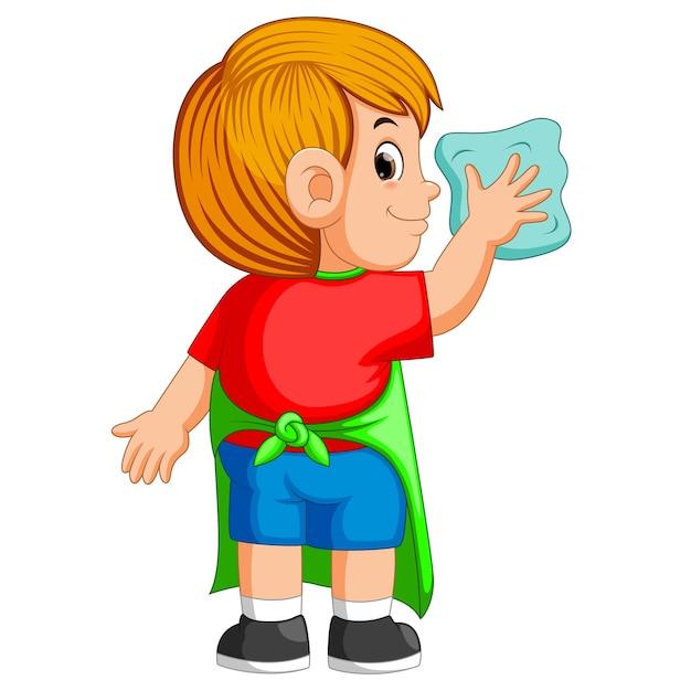 Garçon délicat faisant une activité quotidienne pour nettoyer avec la serviette bleue Vecteur Premium