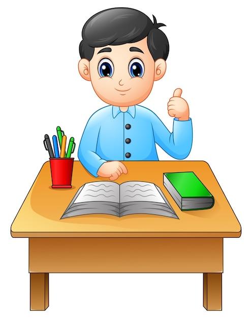 Garçon de dessin animé, apprendre à table donner les pouces vers le haut Vecteur Premium