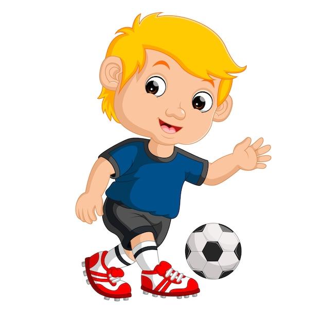 Garçon De Dessin Animé Jouant Au Football Vecteur Premium