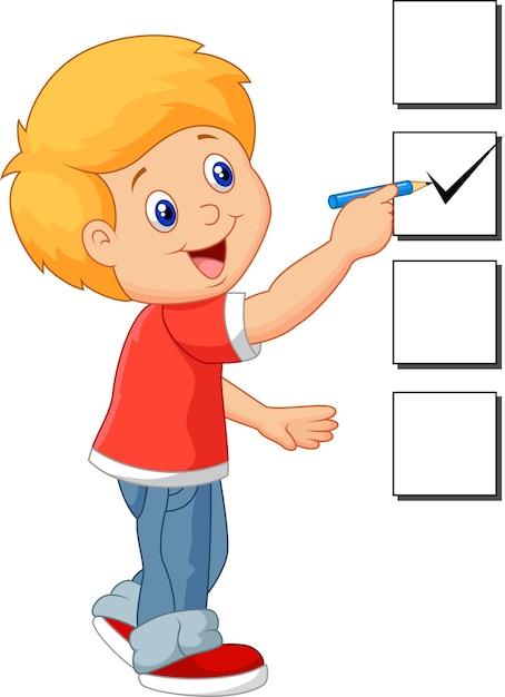 Garçon de dessin animé avec liste de contrôle Vecteur Premium