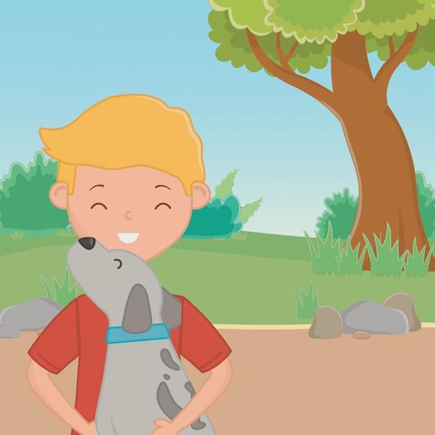 Garçon avec un dessin de chien Vecteur gratuit