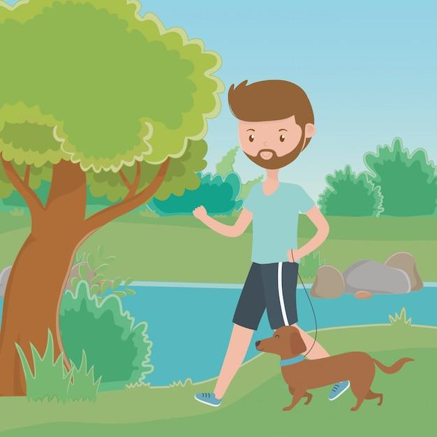 Garçon avec dessin de chien Vecteur gratuit