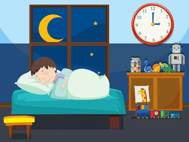 Un garçon dormant dans la chambre Vecteur Premium