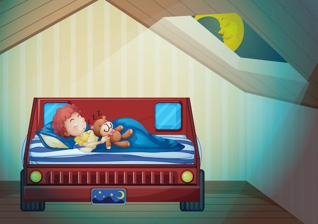 Garçon dormant dans la chambre Vecteur Premium