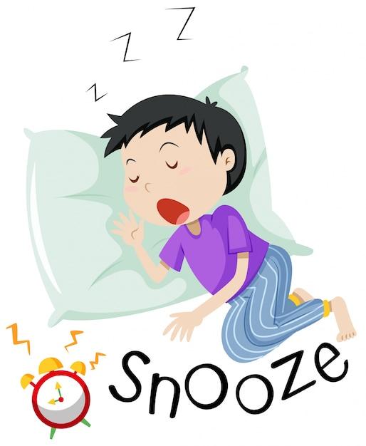 Garçon, Dormir, à, Réveil, Snoozing Vecteur gratuit