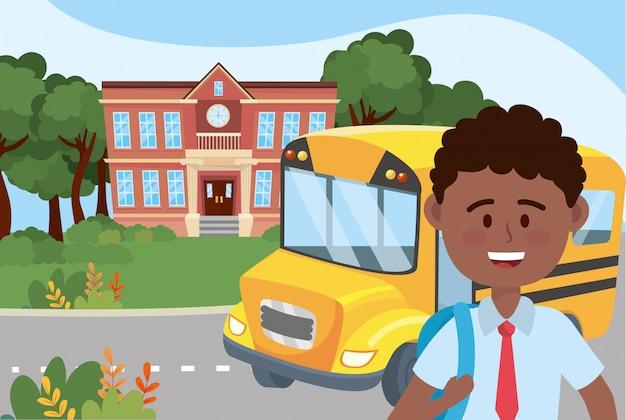 Garçon et école de bus Vecteur gratuit
