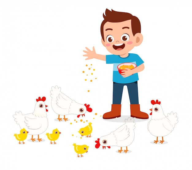Garçon enfant mignon heureux nourrir le poulet mignon Vecteur Premium