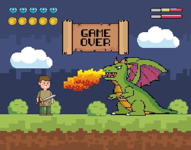 Un garçon avec une épée et un dragon crache le feu avec un message de game over Vecteur gratuit