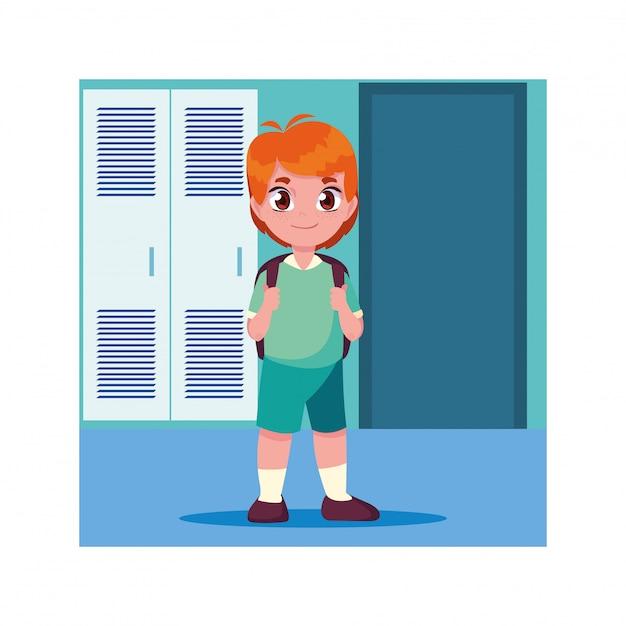 Garçon étudiant Dans Le Couloir De L'école Avec Des Casiers, Retour à L'école Vecteur Premium