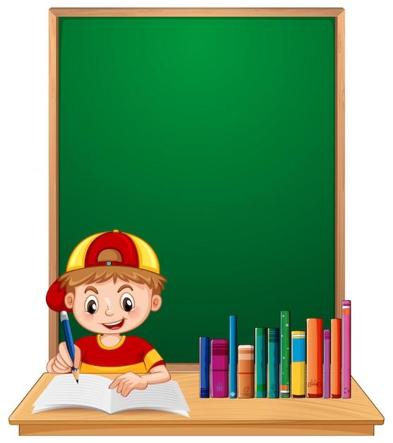 Un garçon étudiant étudie avec fond Vecteur gratuit