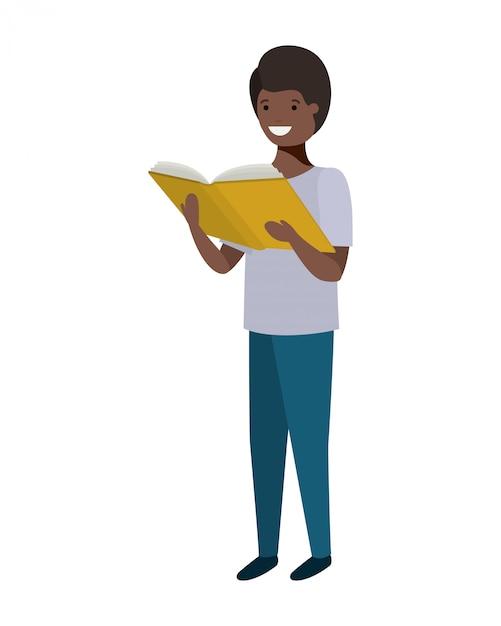Garçon étudiant avec livre de lecture dans les mains Vecteur gratuit
