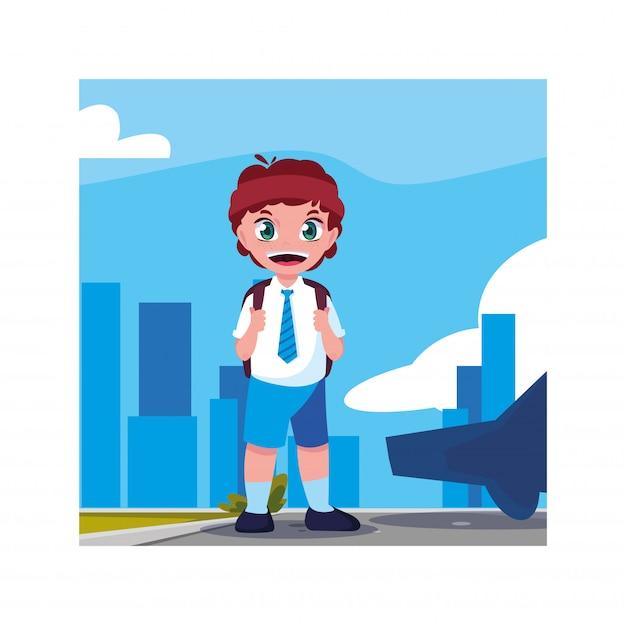 Garçon étudiant Avec Valise Scolaire, Retour à L'école Vecteur Premium