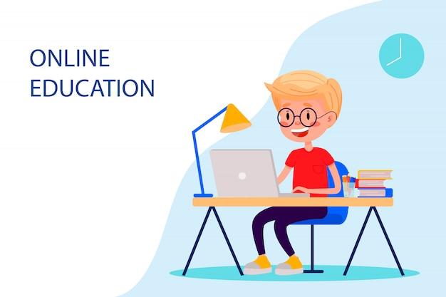 Le Garçon étudie En Ligne Avec L'ordinateur Portable Près De La Table. Plate Illustration Vectorielle Pour Les Sites Web. Vecteur Premium